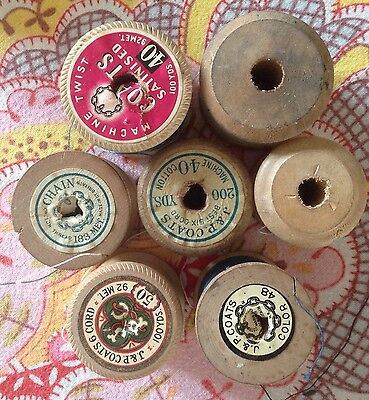7 Vintage wooden Coats  cotton reels