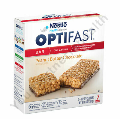 Optifast 800 Bars - Peanut Butter Chocolate - 6 Boxes - 42 Servings - Fresh