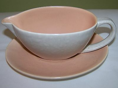 Vintage POOLE twintone Gravy Boat & Under Plate Mottled Gray & Salmon  Pink  VGC