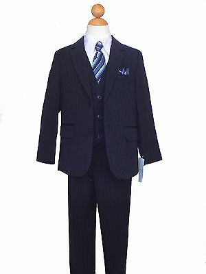 BOYS, RECITAL,GRADUATION,PINSTRIPE SUIT, NAVY BLUE/WHITE SIZE: 2T to 16
