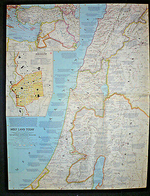 """Vintage 1963 HOLY LAND TODAY Map National Geographic 25""""x19"""""""