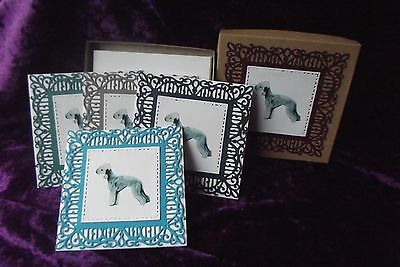 Bedlington Terrier Boxed Set of 4 Notelets Handcrafted by Curiosity Crafts