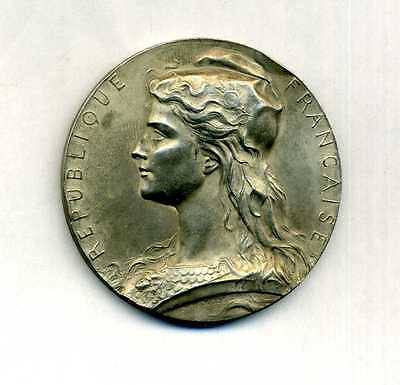 French Marianne of the French Republic silvered medal 1927 by Henri Dubois