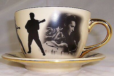 2003 Elvis Presley Large Porcelain Cup and Saucer Set, Gold and Black
