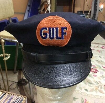 Vintage Gulf Gas Station Attendants Hat Cap  Uniform Gas Oil Can Pump