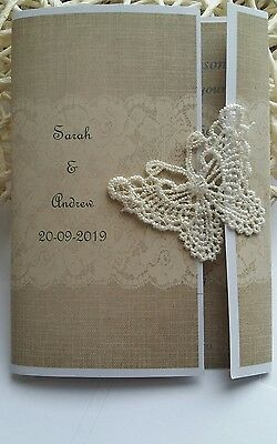 Personalised Handmade Wedding invitations Rustic Lace Butterfly with Envelope