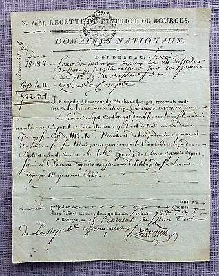 """French Revolution 1795 - La Loi / Le Roi  """" MINUTE """"- Notarial deed of Bourges"""