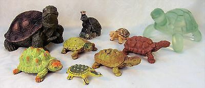 Vintage 80-90s Turtle Tortoise Figurine Lot Resin Lucite Rubber CE Toy Amphibian
