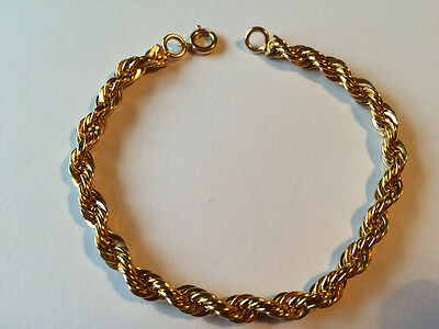 Gold Plated Classic  Rope Twist  Bracelet---New