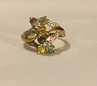 Multi Coloured Sapphire And Diamond 9 Ct Gold Ring Size M1/2