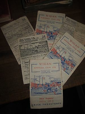 1951 COLLECTION OF 6 x WIGAN RUBGY LEAGUE PROGRAMMES BRADFORD HALIFAX ST HELENS