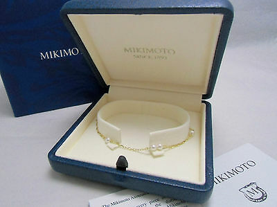 """New Mikimoto Pearl 18K Yellow Gold Station Bracelet 3.5mm Pearl 7"""" Gift AUTH!"""