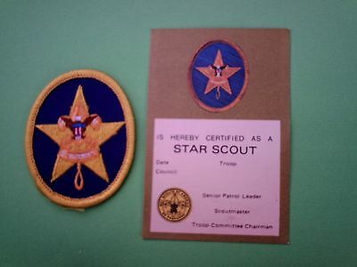 Bsa. Star Scout Badge & Progress Award Card.