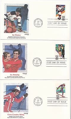 3 1984 USA Sarajevo winter Olympic games  first day cover FDC FDI Fleetwood
