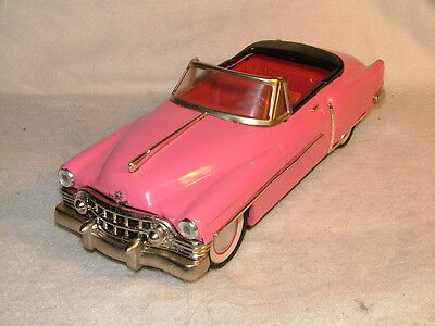 1950 Elvis Pink Cadillac Convertible Vintage Tin Friction Toy Car