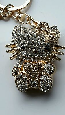 Crystal  Gold Cat Bag  And Key Ring Charm