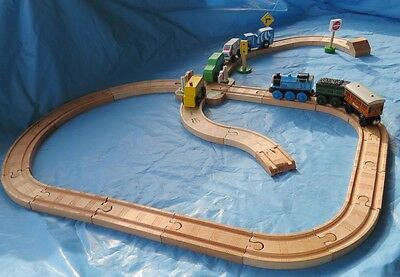 Wood Wooden Train Track Set and Accessories - Thomas, Ikea, Brio Compatible 35-4