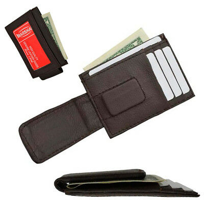 4e7aae268371 Mens Leather Money Clip Slim Front Pocket Magnetic ID Credit Card Wallet  Brown