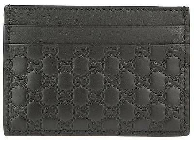 New Gucci Black Microguccissima Leather Card Case Id Holder Wallet