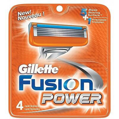 NEW AUTHENTIC Gillette Fusion Power Razor Blades Cartridge Refills - 4 Count