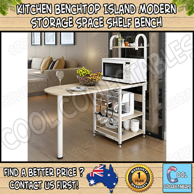 Kitchen Benchtop Island Modern Storage Space Shelf Bench Cabinet  - White