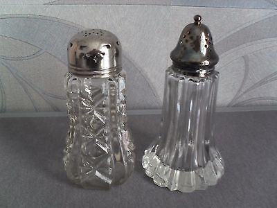 Two Sugar Shaker/SifterGlass/Silver Plate