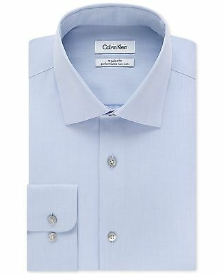 $175 CALVIN KLEIN Men REGULAR-FIT BLUE NON-IRON COTTON DRESS SHIRT 15.5 32/33 M