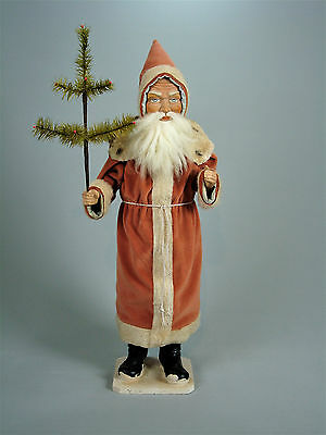 """25,6""""Paper mache*German  Santa* candy container *(pale orange)by Paul Turner"""