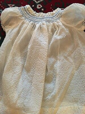 VINTAGE Horrockses 1940s 1950s BABY CHILDS CREAM SMOCKED DRESS