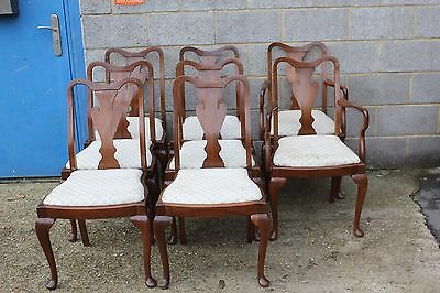 A Set of Walnut Queen Anne Style Dining Chairs