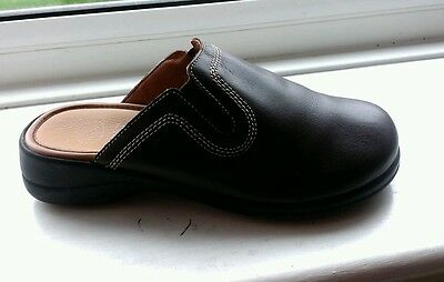 Scholl ladies brown leather mule  style shoes size 2 UK
