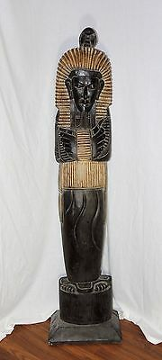 5 foot Egyptian Sarcophagus Hand-Carved Wood Pharaoh Statue King Primitive