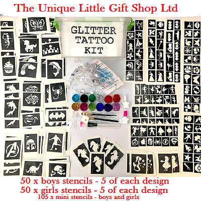 Boys Girls GLITTER TATTOO KIT 205 stencils 12 glitters storage box  personalised