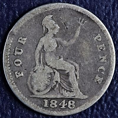 1848 Great Britain 4 Four Pence Groat .9250 Fine Silver Coin *
