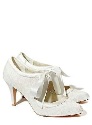 Size 5 Ivory Wedding Collection Court Shoes with ribbon tie