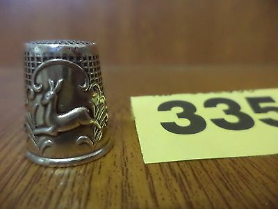 Vintage Portugal Porto 925 Solid Silver Thimble with Deer Decoration