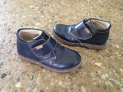 Kids Redbootie Navy Blue Leather Ankle Boots/School Shoes - Size 29