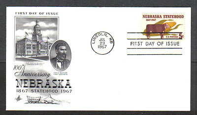 Us Fdc 1967 Nebraska Statehood 5C Stamp Art Craft First Day Of Issue Cover Nb
