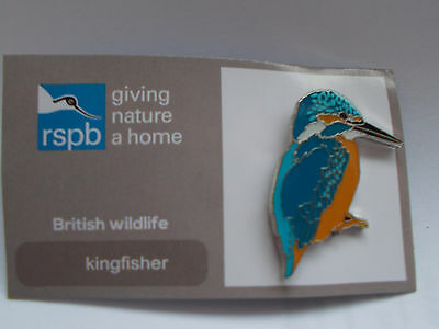 RSPB British Wildlife KINGFISHER Pin Badge NEW ON CARD