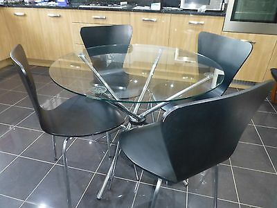 Round glass table and 5 chairs with Free Delivery!
