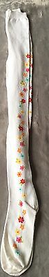 Gymboree Girls NEW Heavyweight White Tights  With Colored Flowers Size 8-10