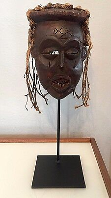 Antique African Mask Carved Wood & Fiber Mwana Pwo Chokwe Congo Angola w/Stand