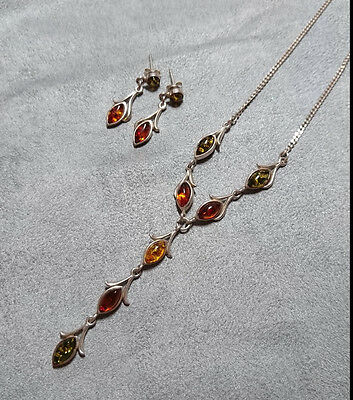 Sterling Silver Amber Drop Necklace Pendant & Earrings Green Yellow Orange