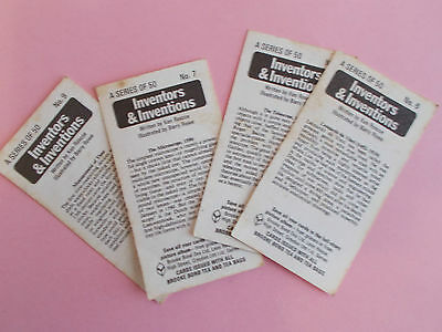 Brooke Bond INVENTORS AND INVENTIONS Trading Cards x 4