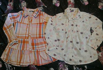 Girls age 5-6 bundle of long sleeve shirts blouses checked flowers pinstripe