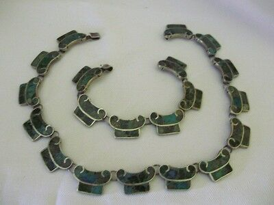 MEXICO VINTAGE STERLING PANELED CHOKER w/BRACELET w/CRUSHED INLAID STONES