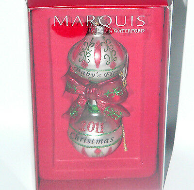 Marquis Waterford Baby's First Christmas 2011 Ornament Rattle Box Tag Silver Bow