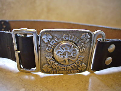 Vintage Girl Guides Belt circa 1960s Real Leather