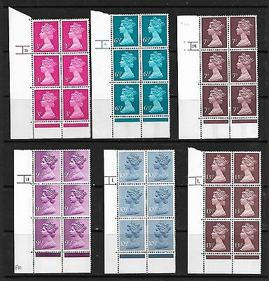 QE2 6 X MACHIN CYLINDER BLOCKS OF 6 - 3p TO 13½p NEVER HNGED MINT
