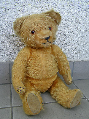 "1920 HERMANN ANTIQUE 19"" TEDDY BEAR MOHAIR Long Nose Jointed squeeze voice cute"
